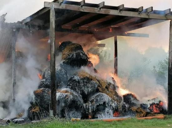 Bild - Strohballen Brand in Schinkel – rund 100 Feuerwehrleute im Einsatz